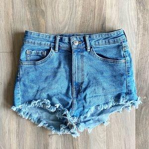 Zara High Rise Cut Off Jean Denim Shorts Size 4